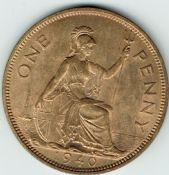 George VI, One Penny 1940 (Scarcer Year), AUNC, M9015